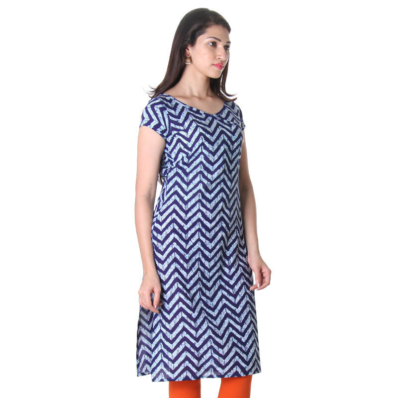 Astral Aura Zig-Zag Printed Indo Western Cotton Kurta From eSTYLe
