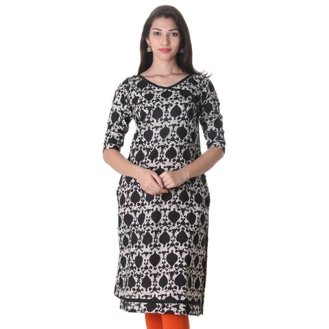 Anthracite Black All Over Printed Cotton Kurta From eSTYLe