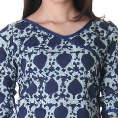Eclipse Blue Floral Printed Elegant Cotton Kurta From eSTYLe