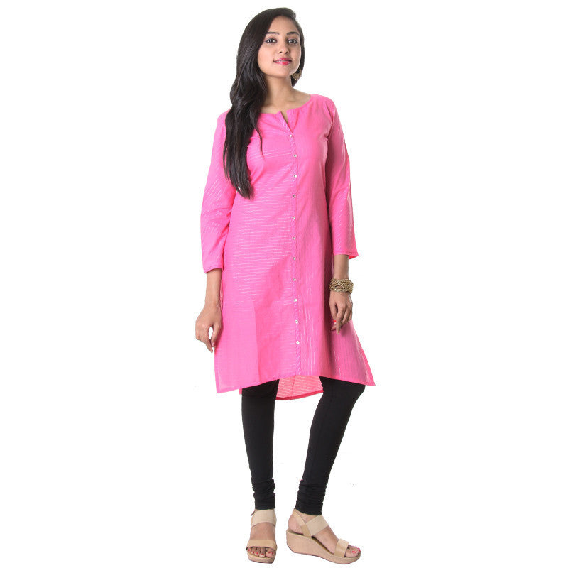 Azalea Pink With Stylished Silver Stripes Cotton Kurta From eSTYLe