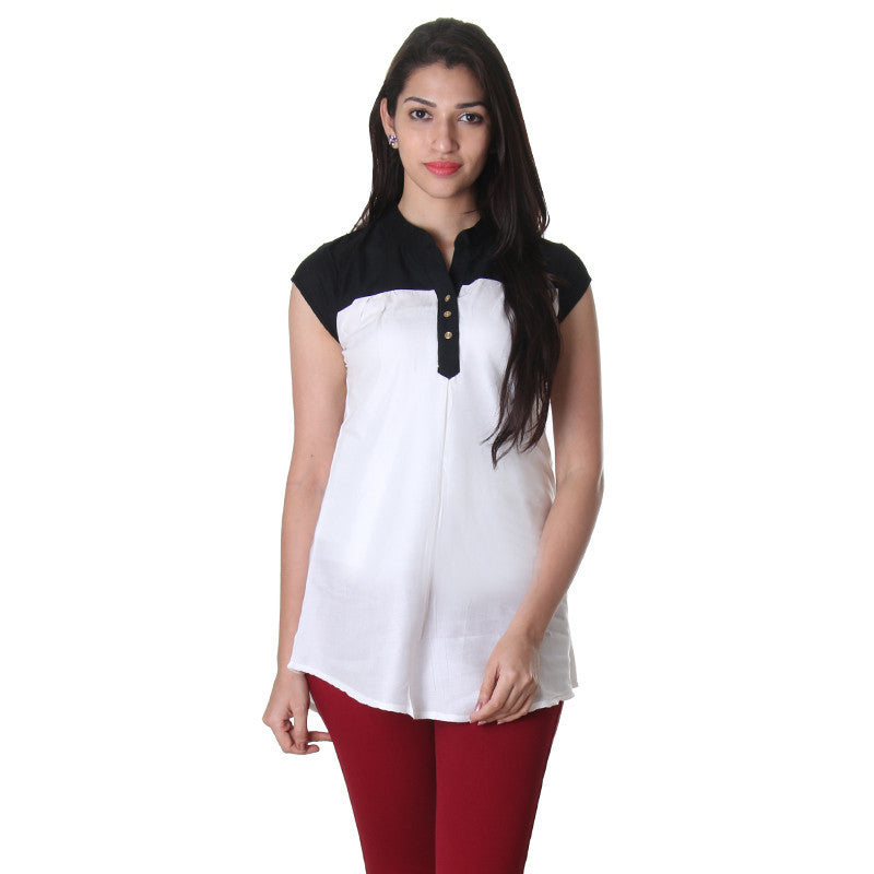 Bright White With Closed Placket Stylish Top...