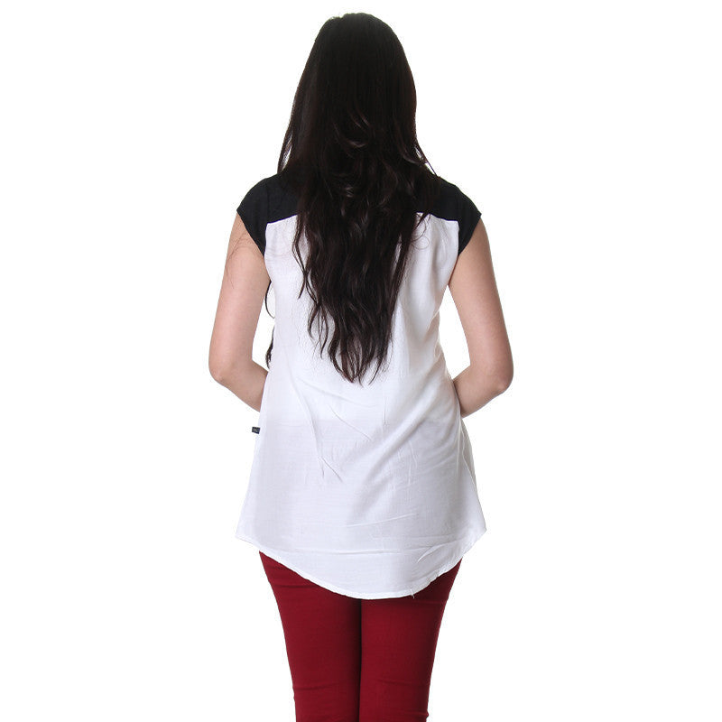 Bright White With Closed Placket Stylish Top From eSTYLe