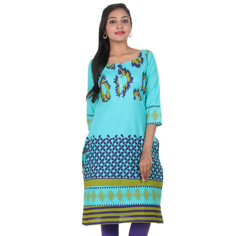 Blue Curacao Boat Style Neck Casual Cotton Kurta From eSTYLe