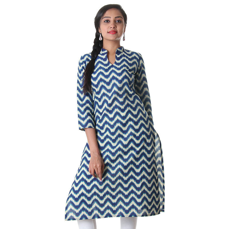 Blue Print With Sandal Colour Zig Zag Printed...
