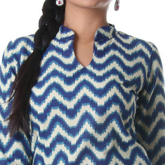 BluePrint With Sandal Colour Zig-Zag Printed Casual Wear Cotton Kurta From eSTYLe
