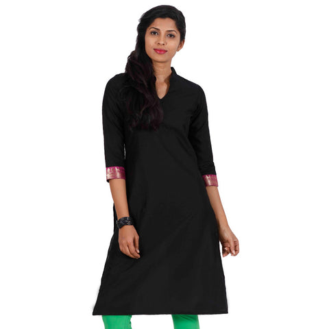 Pirate Black 3/4th Sleeve With Contrast Purple Zari Cuff eSTYLe Kurta