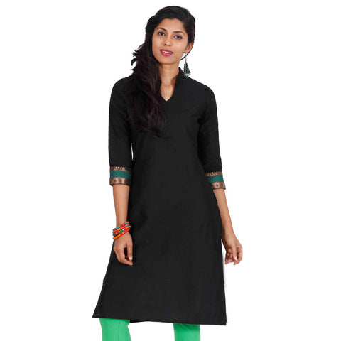 eSTYLe Jet Black Three-Quarter Sleeves With Green Zari Cuff Kurta