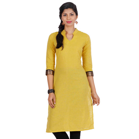 Aspen Gold Yellow Mandarin Neckline Cotton Kurta From eSTYLe