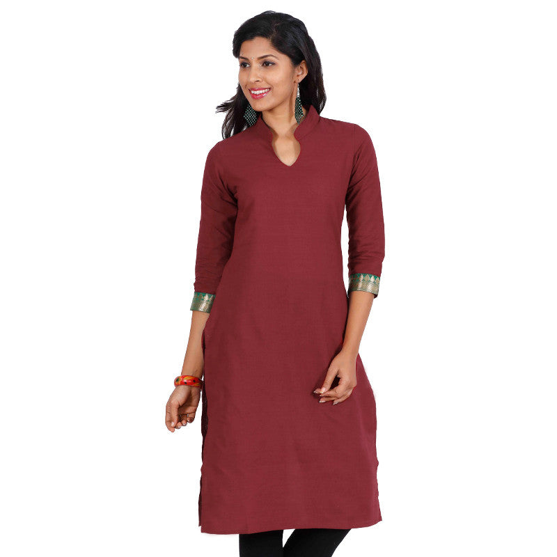 Tango Red Mandarin Collar Neck Straight-Cut Kurta From eSTYLe