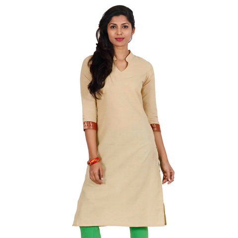 eSTYLe Mellow Buff Mandarin Collar With Open Placket Kurta