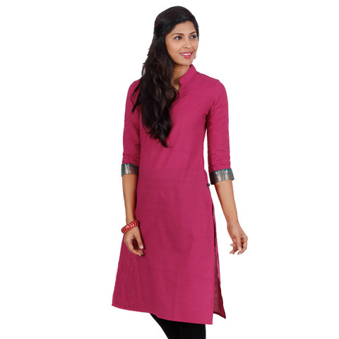eSTYLe Beetroot Purple 3/4th Sleeves With Peacock Green Cuff Kurta