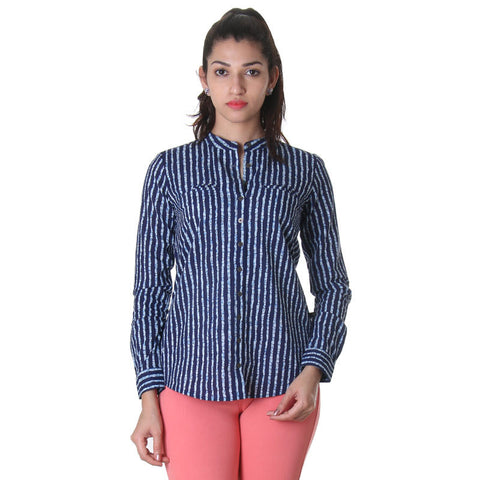 Blue Depths Full Buttoned Placket With Two Chic Front Packet Cotton Shirt From eSTYLe