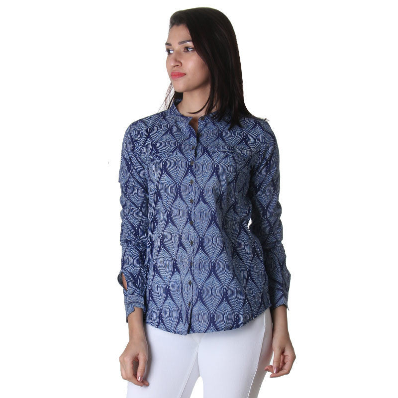 eSTYLe Medieval Blue Stand Collar With Astonishing Printed Design Cotton Shirt