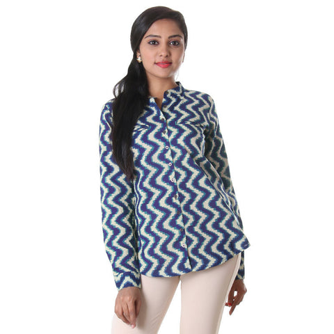 eSTYLe Indigo Blue Modern Tunic Top Made From Pure Cotton
