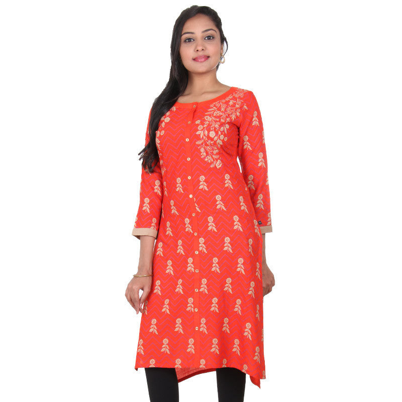 Cherry Tomato Orange With Golden Floral Prints Slub-Rayon Ethnic Wear Kurta From eSTYLe