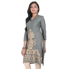 Charcoal Grey With Golden Floral Print Design Pure Rayon Kurta From eSTYLe