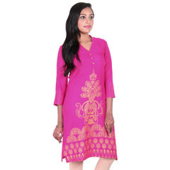 Beetroot Purple Golden Floral Printed Design Pure Rayon Ethnic Kurta From eSTYLe