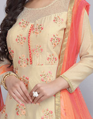 Cream 'N' Orange Anarkali Chanderi Cotton Salwar Suit