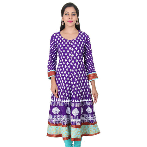 eSTYLe Pansy Violet With White Prints Casual Cotton Anarkali