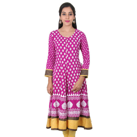 Bright Magenta With White Prints Cotton Wide Flared Anarkali From eSTYLe