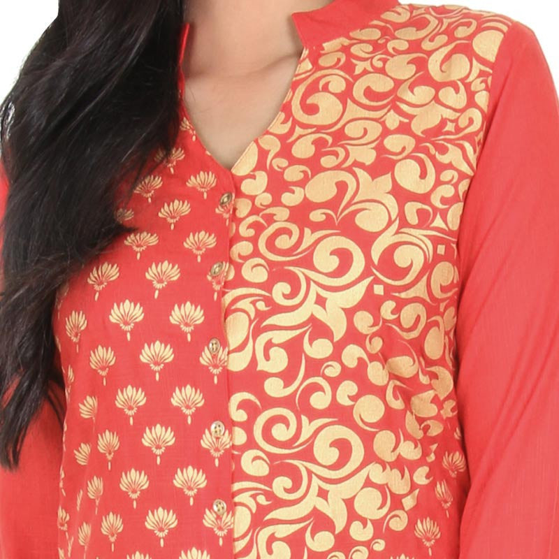 BitterSweet Red With Golden Floral Printed Slub-Cotton Kurta From eSTYLe