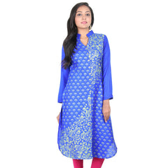 eSTYLe Princess Blue Buttoned Placket Trendy Kurta From Slub-Cotton