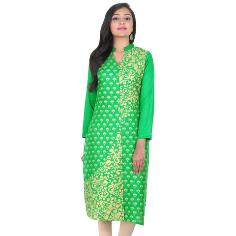 Bright Green Stylish Floral Prints Slub-Cotton Kurta From eSTYLe