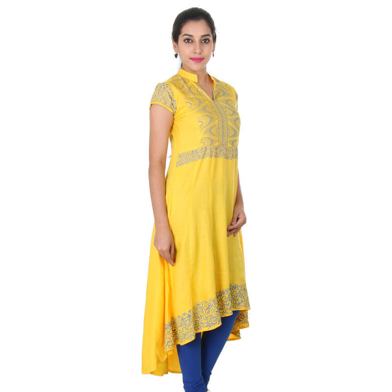 Spectra Yellow Stand Collar Neck With Stylish Prints Slub Rayon Anarkali From eSTYLe