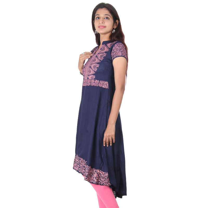 eSTYLe Patriot Blue Modish Prints & High-Low Hemline Pure Slub Rayon Anarkali