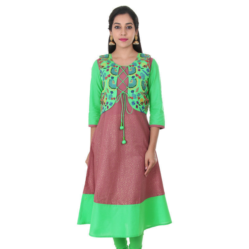 E Sty Le Deco Rose Pure Cotton Anarkali With...