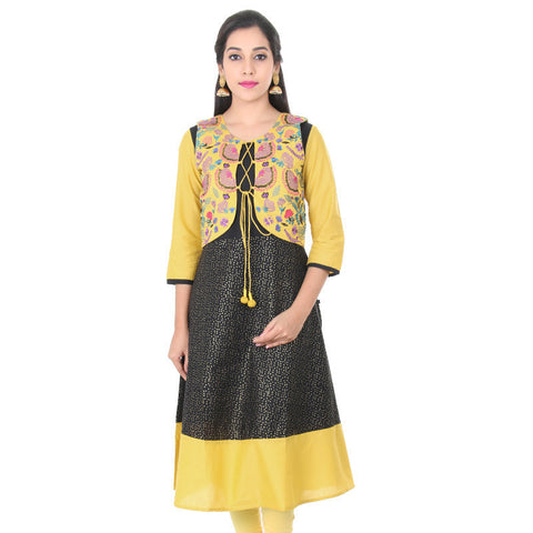 eSTYLe Pirate Black Pure Cotton Anarkali With Golden Rod Yellow Embroidered Coat