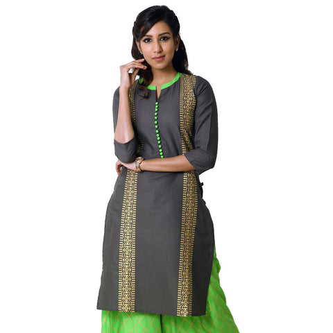 Gunmetal Cotton Printed Straight-Cut Kurta