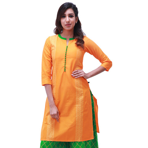 Blazing Orange Cotton Printed Straight-Cut Kurta