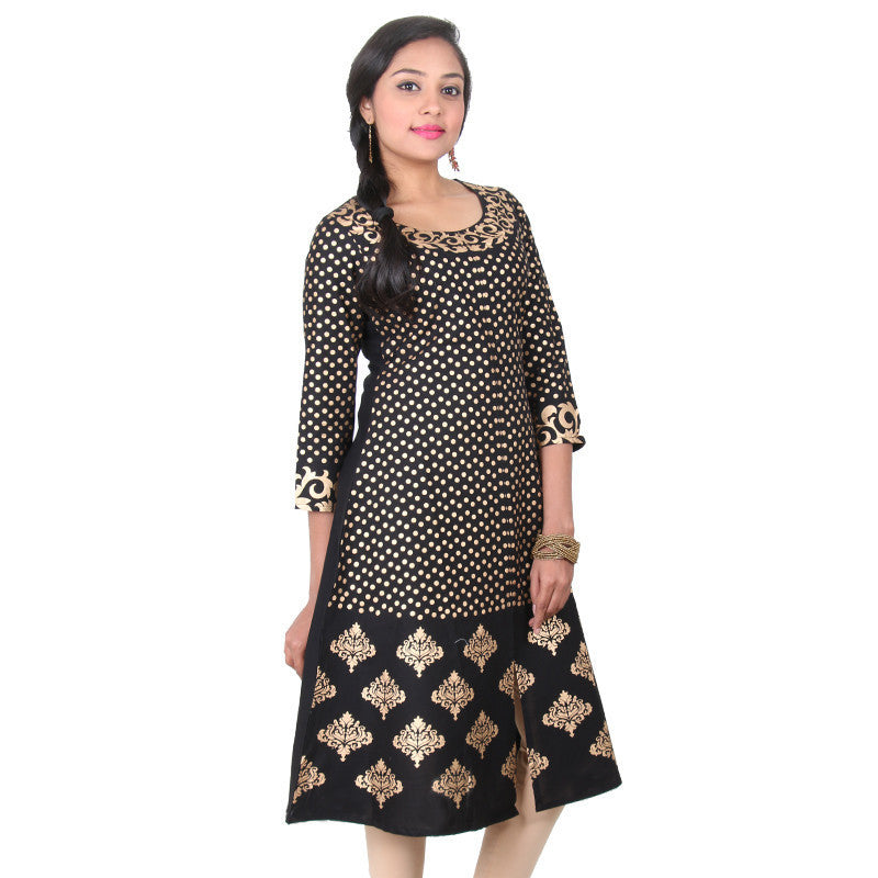 Anthracite Black With Gorgeous Golden Floral Prined Design Cotton Anarkali From eSTYLe