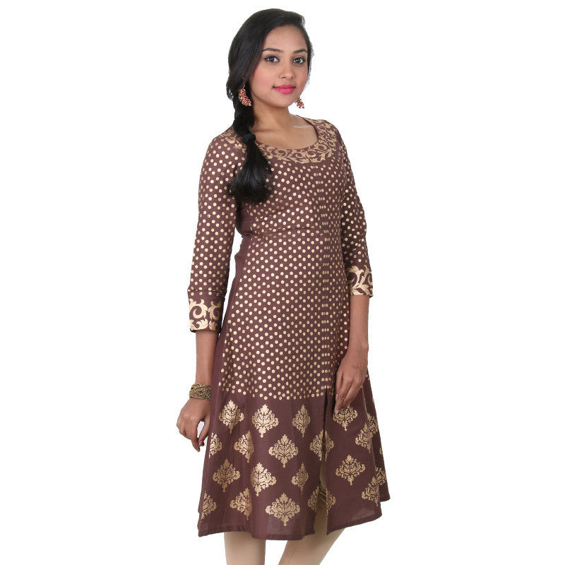 Decadent Chocolate With Royal Golden Printed Design Cotton Anarkali From eSTYLe