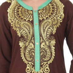 Cappuccino Brown Stand Collar & Three-Quarter Sleeves Pure Rayon Festive Wear Kurta From eSTYLe