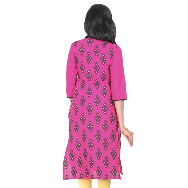 Bright Rose With Contrast Black & Golden Mixing Floral Prints Pure Cotton Kurta From eSTYLe