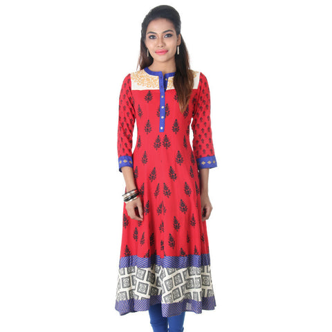 Poinsettia Red Floral Prints Flared Cut Rayon Anarkali From eSTYLe