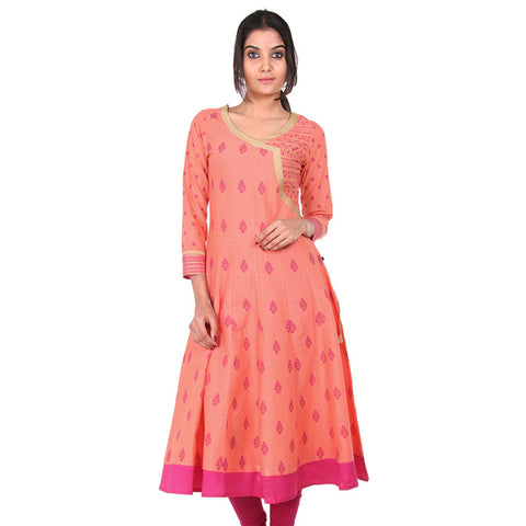 Peel Orange eSTYLe Anarkali - Angarkha Patterned Yoke