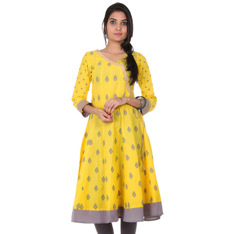 eSTYLe Lime Yellow Pure Cotton Flared-Cut Anarkali