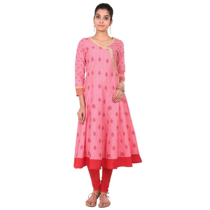 Strawberry Cream eSTYLe Anarkali - All Over Floral Motifs