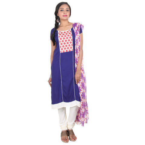 3Pce Suit - Deep Ultramarine Blue With Half-White Embroidered Yoke, Rayon Pant And Chiffon Dupatta  From eSTYLe