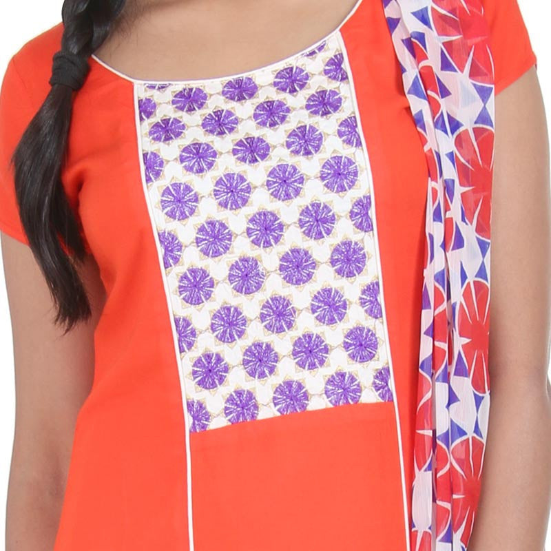 eSTYLe 3Pce Suit - Flame Orange With Violet Floral Design Embroidered Rayon Kurta, Rayon Pant And Chiffon Printed Dupatta