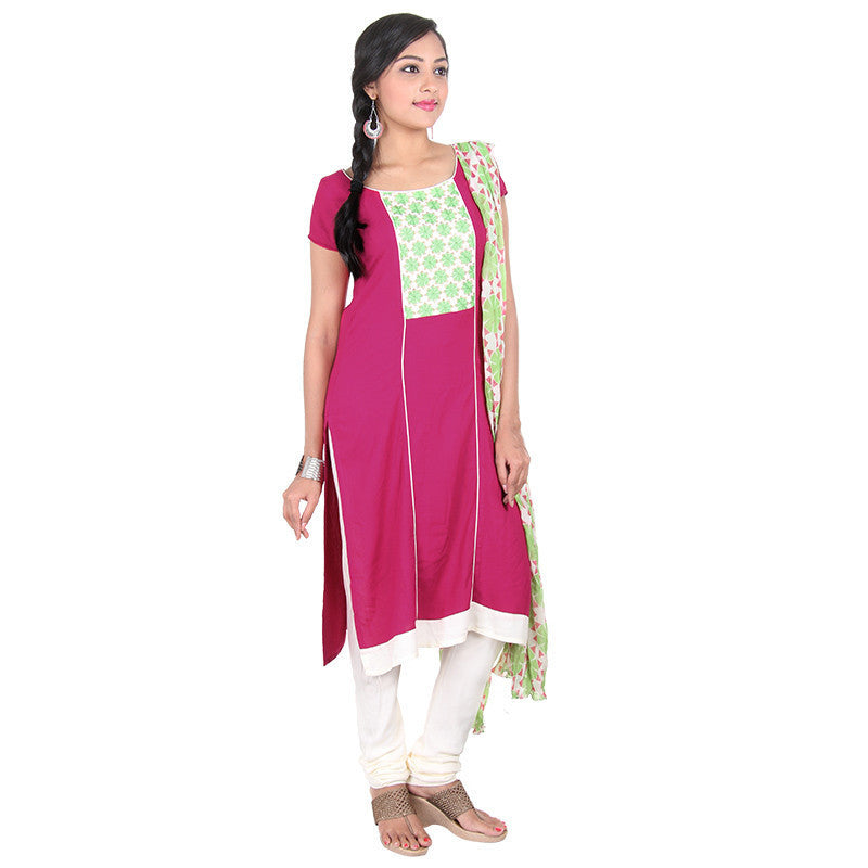 3Pce Suit - Bright Rose Elegant Embroidered Design Rayon Kurta, Pant & Chiffon Dupatta From eSTYLe