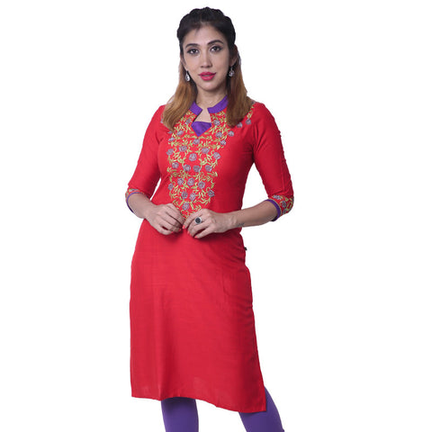 Tomato Red Slub-Rayon Embroidered Notch Collar Straight Cut Kurta
