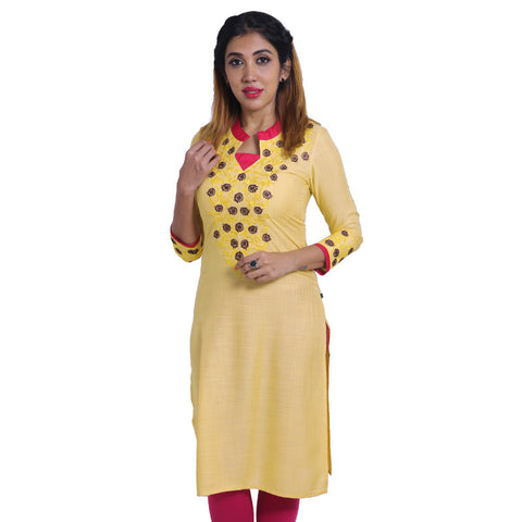 Impala Slub-Rayon Embroidered Notch Collar Straight Cut Kurta