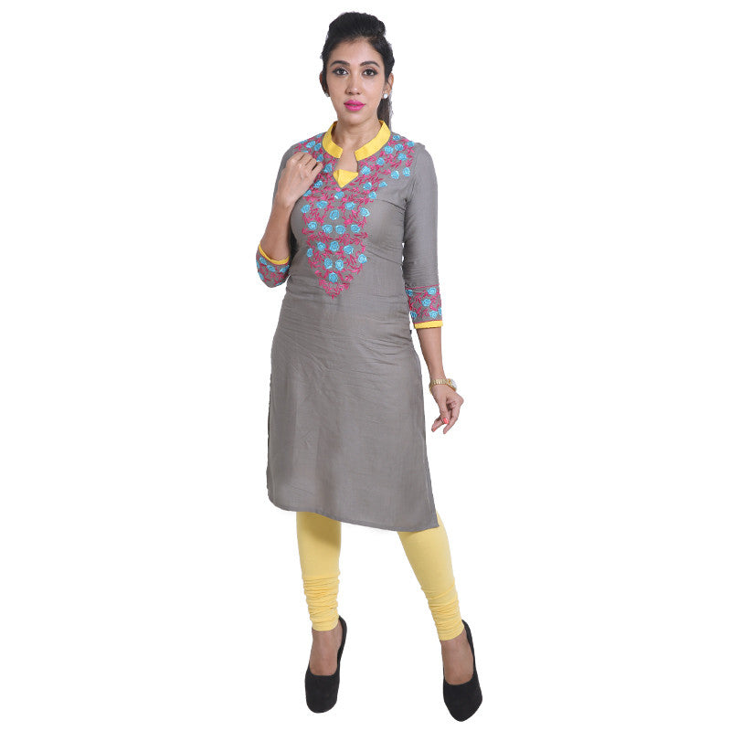 Sedona Sage Slub-Rayon Embroidered Notch Collar Straight Cut Kurta