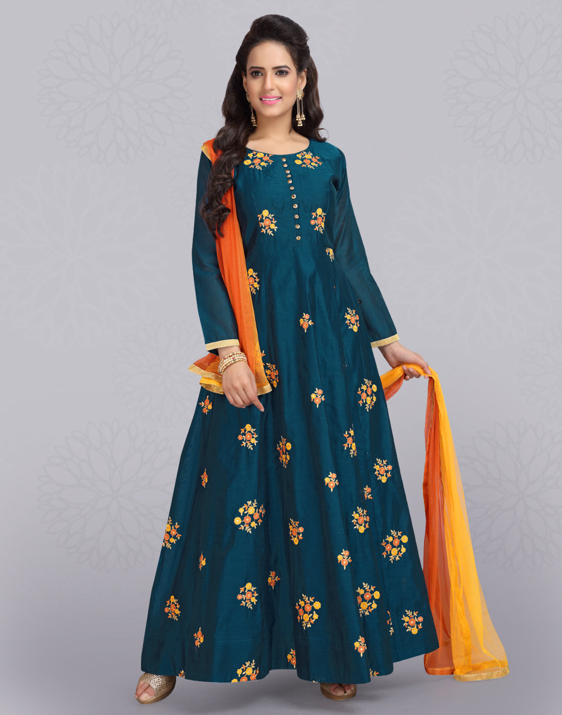 Navy Blue 'N' Orange Silk Cotton Anarkali Salwar Suit