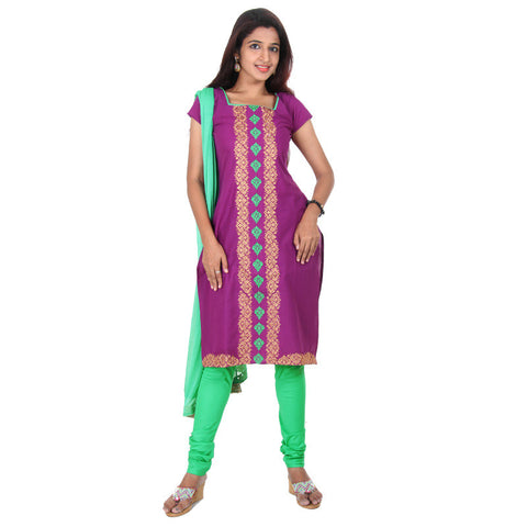 eSTYLe 3Pc Set-Purple Wine Square Neck With Contrast Piping Cotton Kurta, Chudi & Dupatta