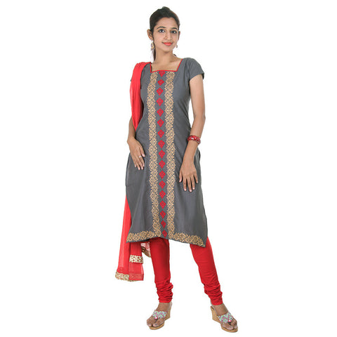 eSTYLe Charcoal Grey Elegant Embroidered Cotton Kurta With Chudi & Dupatta